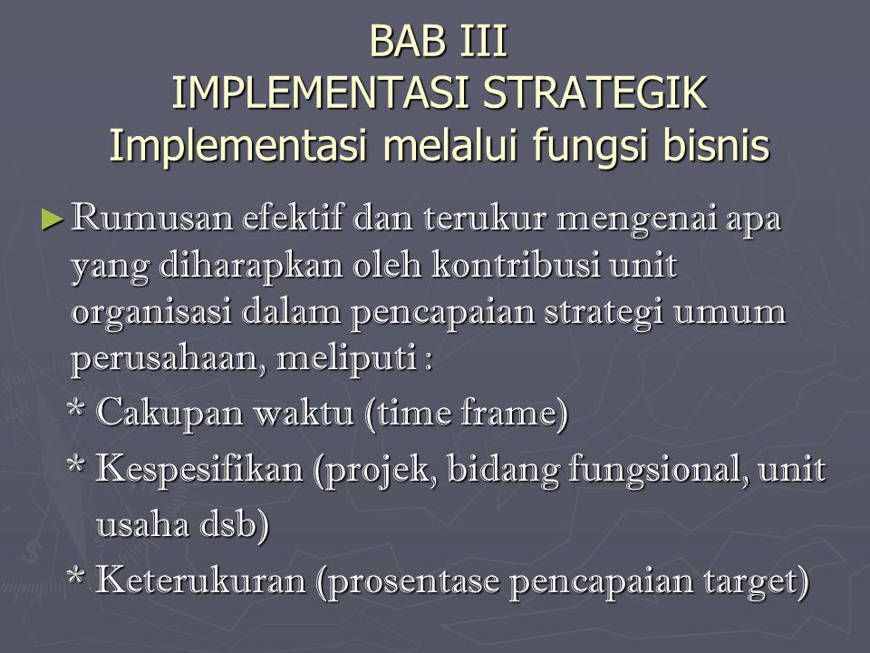 BAB III IMPLEMENTASI STRATEGIK Implementasi melalui fungsi bisnis