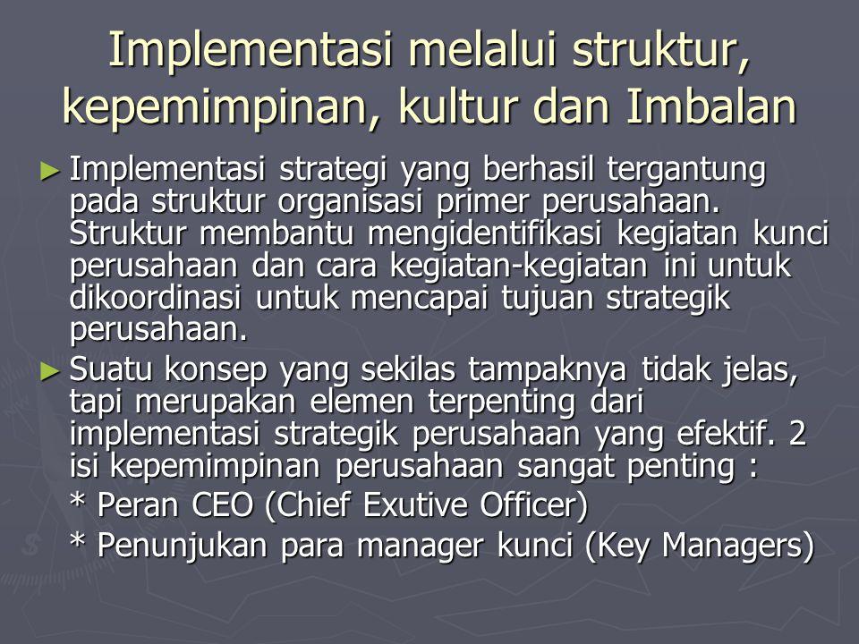 Implementasi melalui struktur, kepemimpinan, kultur dan Imbalan