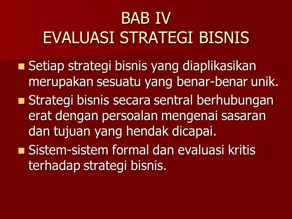 BAB IV EVALUASI STRATEGI BISNIS