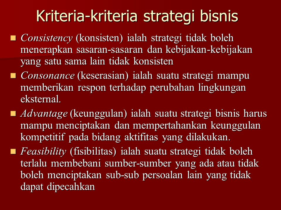 Kriteria-kriteria strategi bisnis