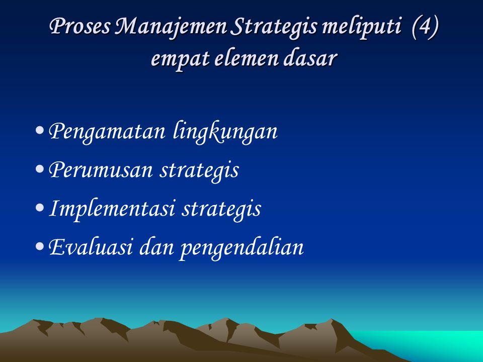 Proses Manajemen Strategis meliputi (4) empat elemen dasar
