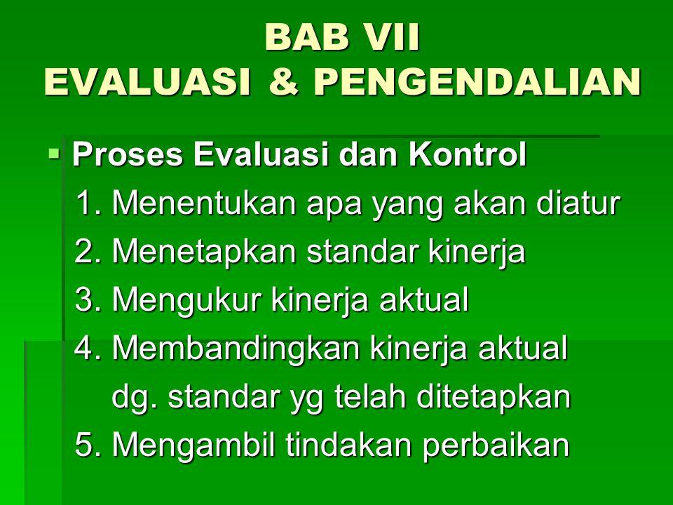 BAB VII EVALUASI & PENGENDALIAN