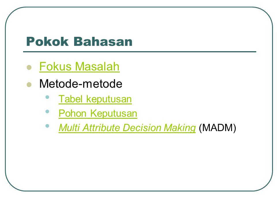 Pokok Bahasan Fokus Masalah Metode-metode Tabel keputusan