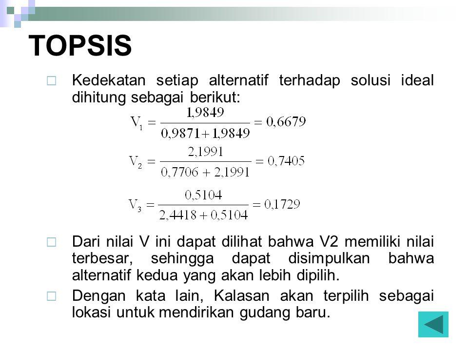 TOPSIS Kedekatan setiap alternatif terhadap solusi ideal dihitung sebagai berikut: