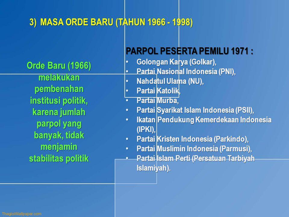 MASA ORDE BARU (TAHUN 1966 - 1998)