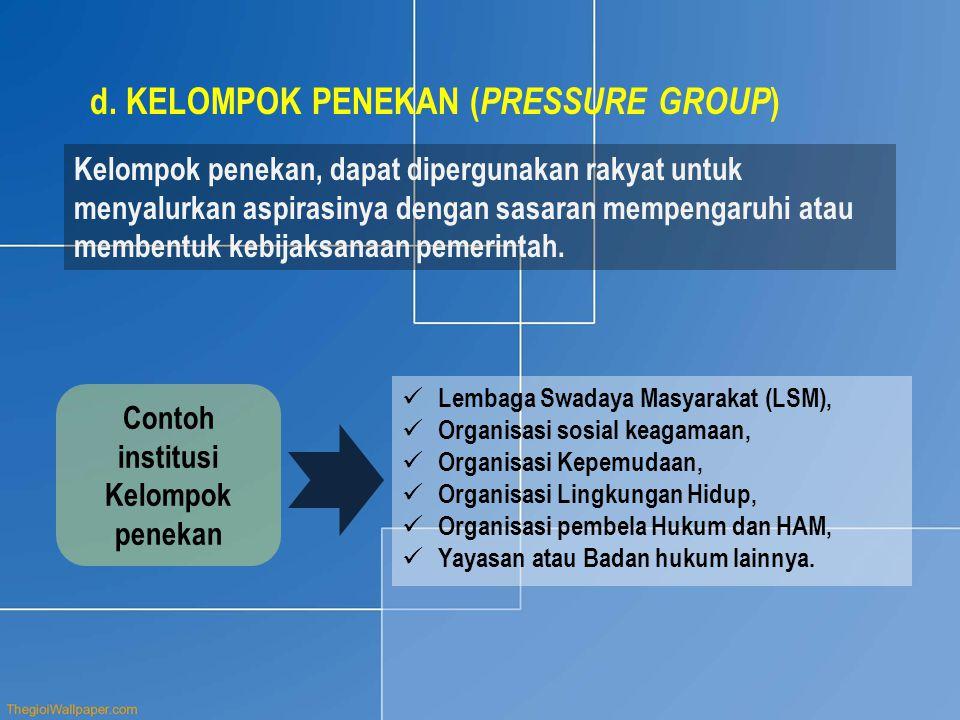 Contoh institusi Kelompok penekan