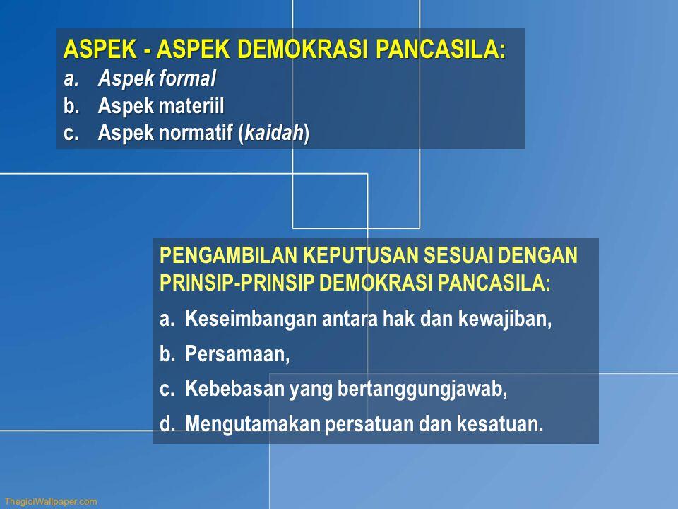 ASPEK - ASPEK DEMOKRASI PANCASILA: