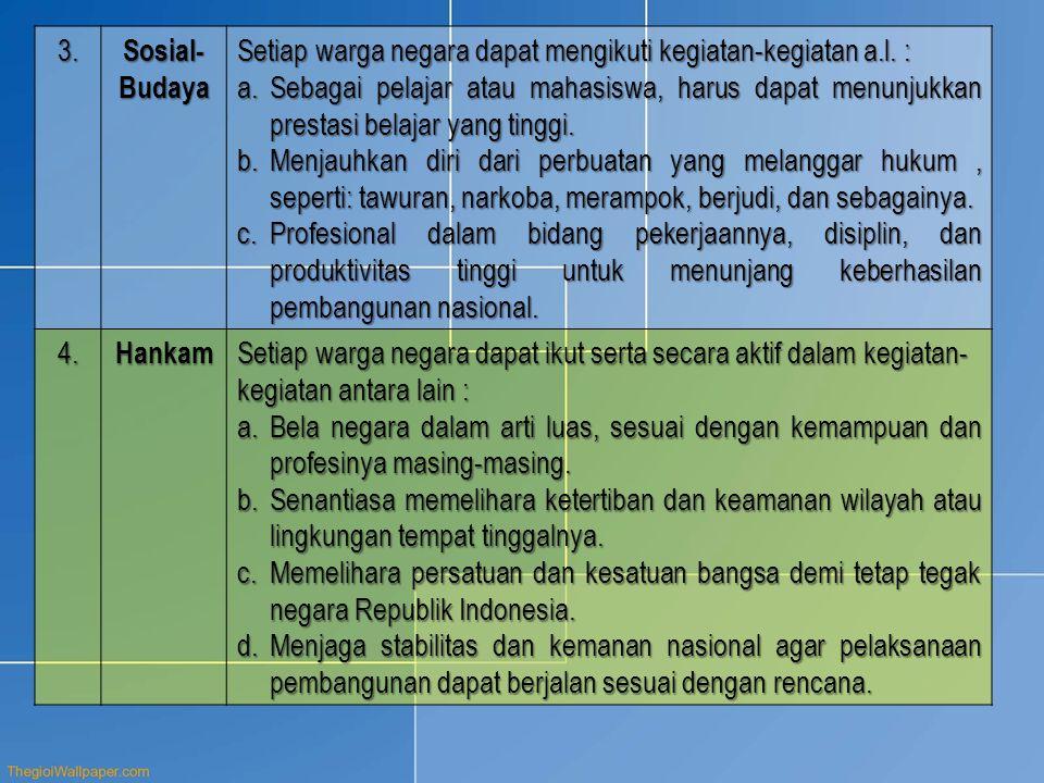 3. Sosial-Budaya. Setiap warga negara dapat mengikuti kegiatan-kegiatan a.l. :