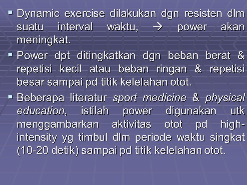 Dynamic exercise dilakukan dgn resisten dlm suatu interval waktu,  power akan meningkat.