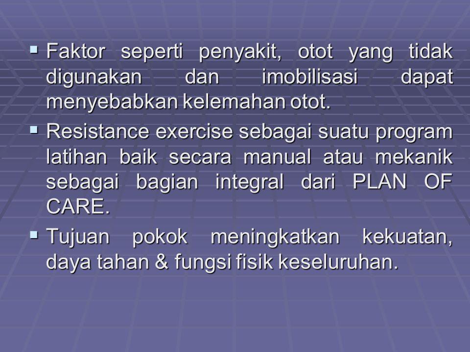 Faktor seperti penyakit, otot yang tidak digunakan dan imobilisasi dapat menyebabkan kelemahan otot.