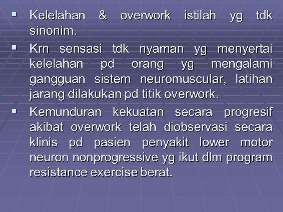 Kelelahan & overwork istilah yg tdk sinonim.