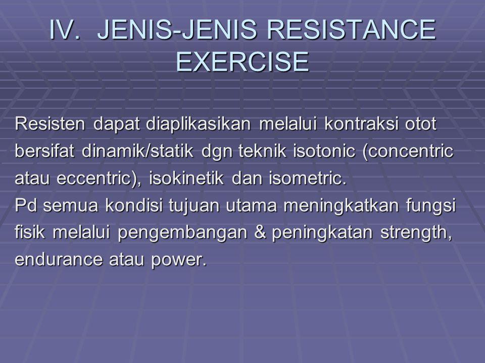 IV. JENIS-JENIS RESISTANCE EXERCISE