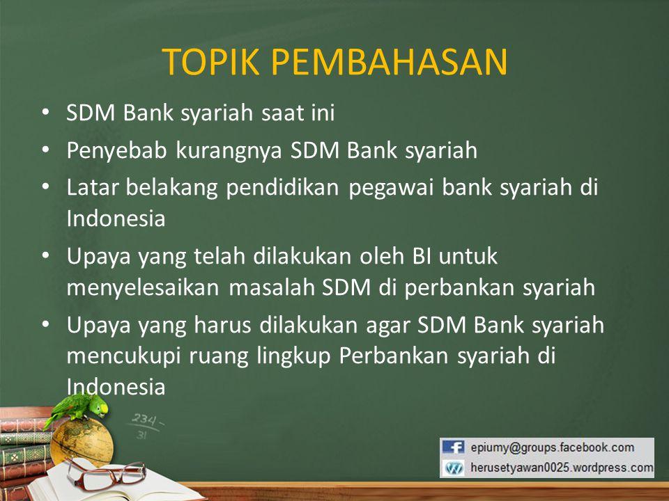 TOPIK PEMBAHASAN SDM Bank syariah saat ini