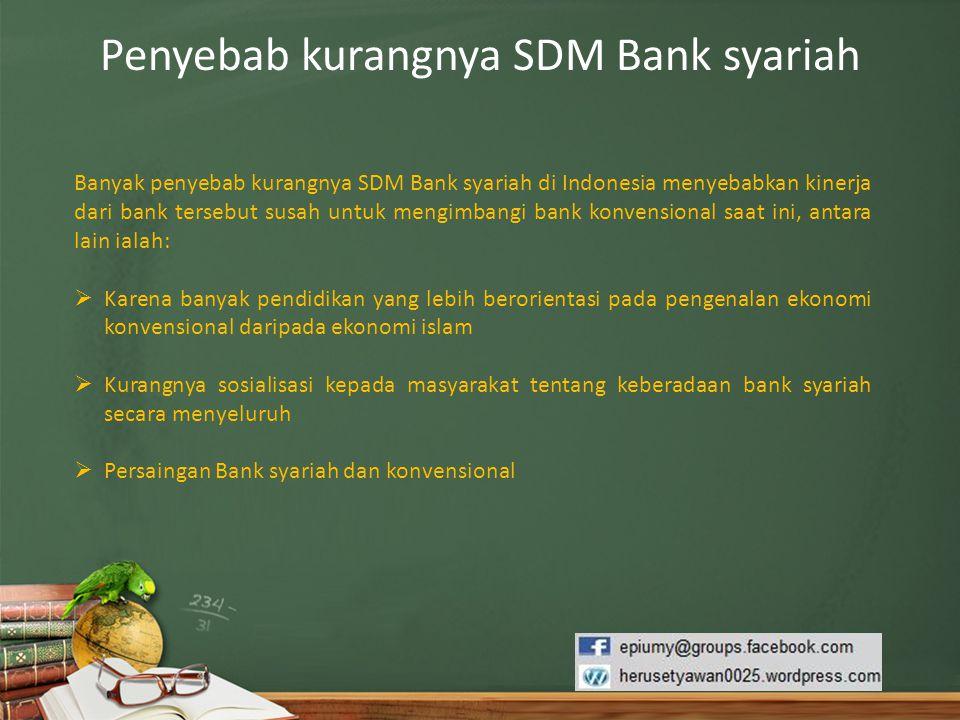 Penyebab kurangnya SDM Bank syariah
