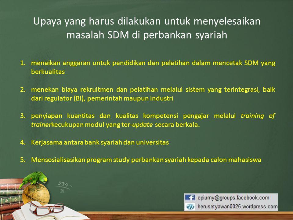 Upaya yang harus dilakukan untuk menyelesaikan masalah SDM di perbankan syariah