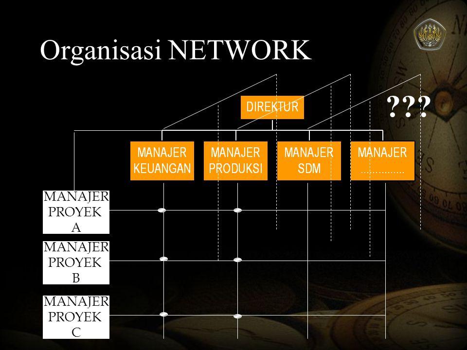 Organisasi NETWORK MANAJER PROYEK A MANAJER PROYEK B MANAJER
