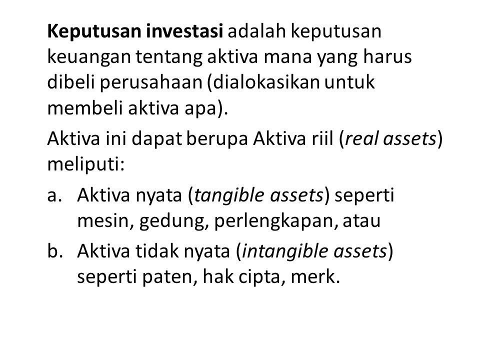 Keputusan investasi adalah keputusan keuangan tentang aktiva mana yang harus dibeli perusahaan (dialokasikan untuk membeli aktiva apa).