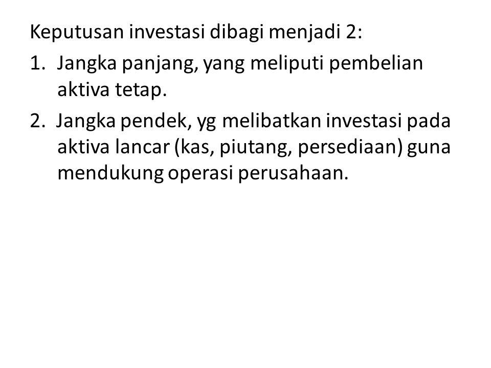 Keputusan investasi dibagi menjadi 2:
