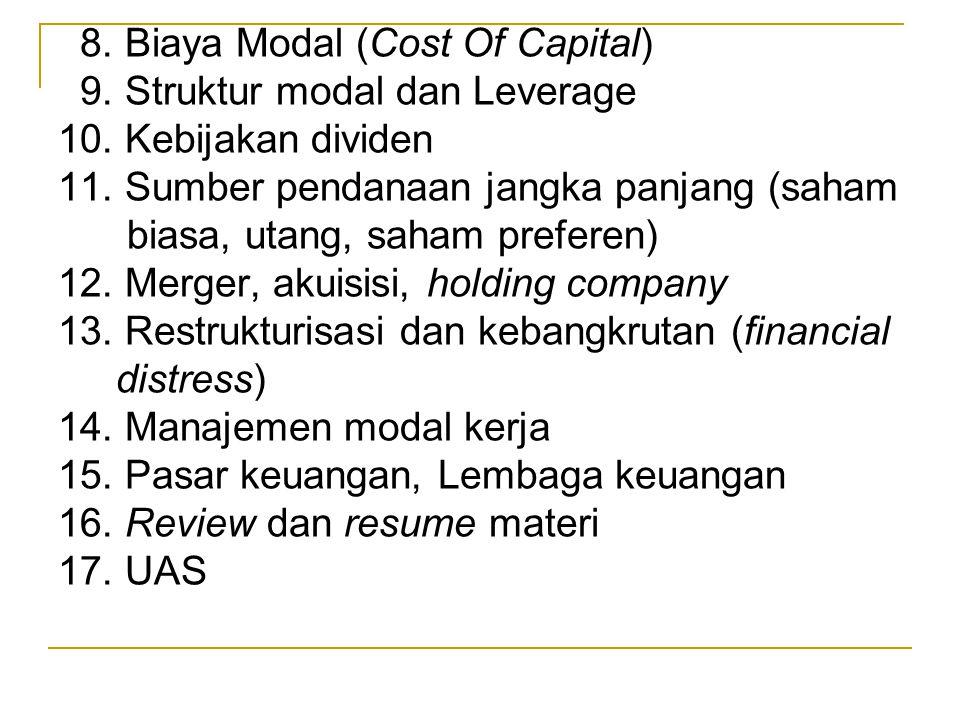 8. Biaya Modal (Cost Of Capital) 9. Struktur modal dan Leverage 10