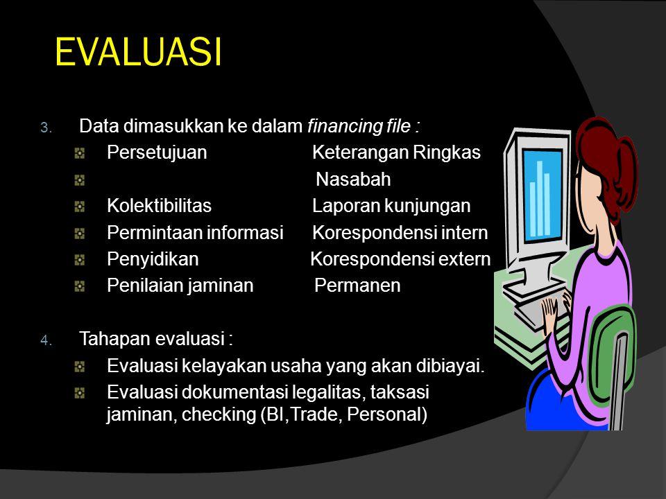 EVALUASI Data dimasukkan ke dalam financing file :