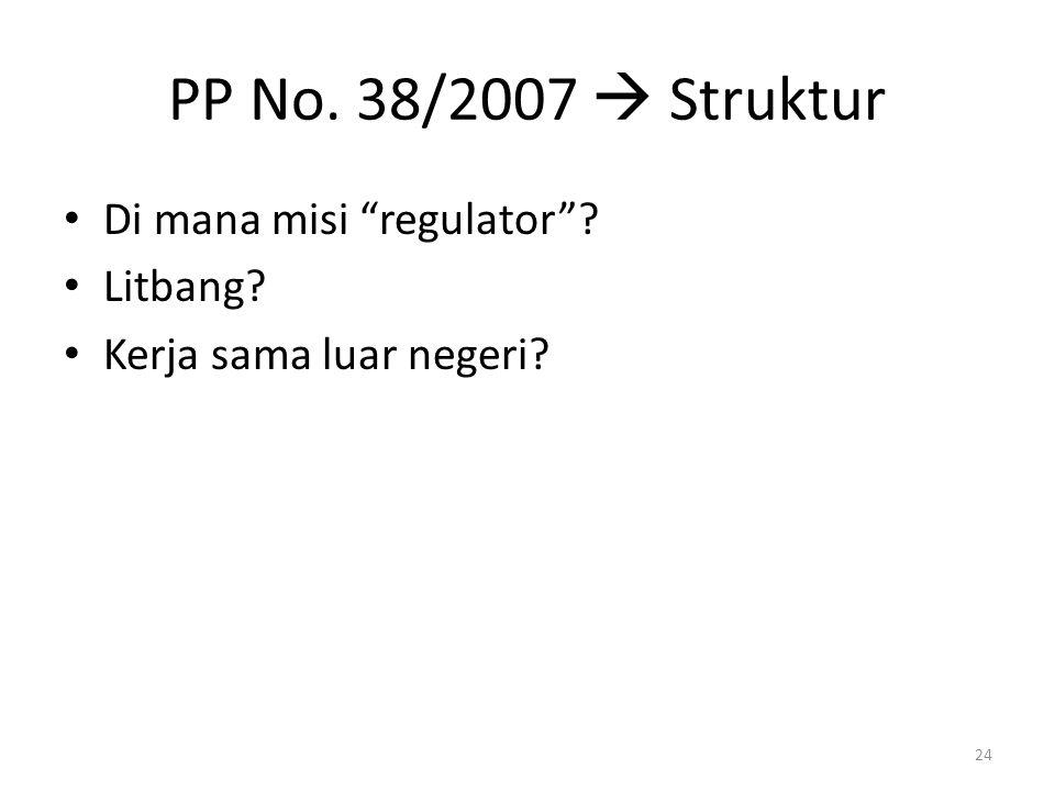 PP No. 38/2007  Struktur Di mana misi regulator Litbang