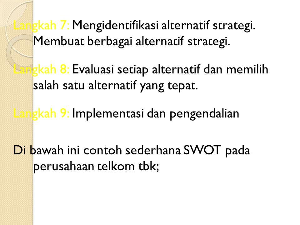 Langkah 7: Mengidentifikasi alternatif strategi