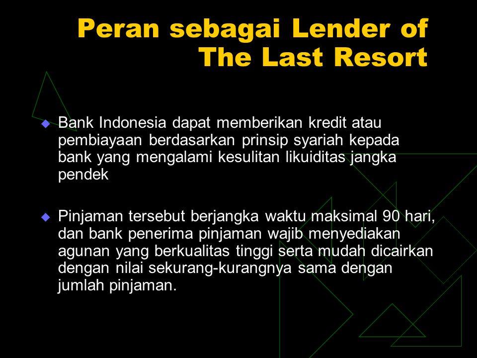 Peran sebagai Lender of The Last Resort