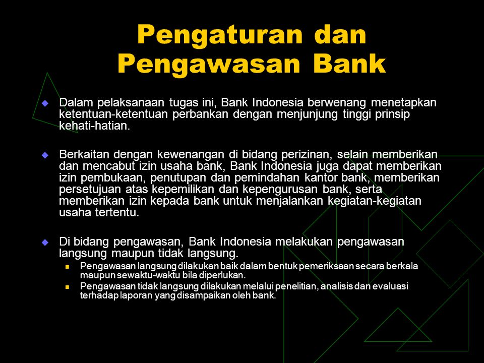 Pengaturan dan Pengawasan Bank