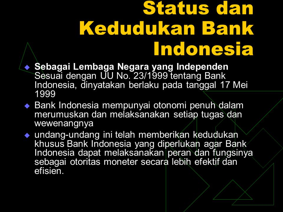 Status dan Kedudukan Bank Indonesia