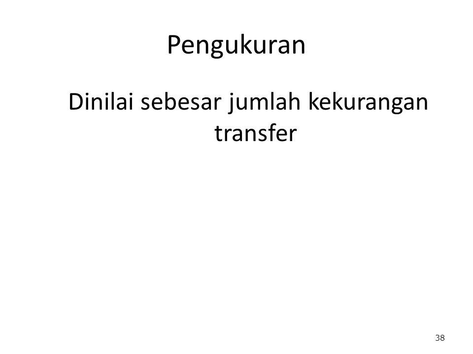Dinilai sebesar jumlah kekurangan transfer