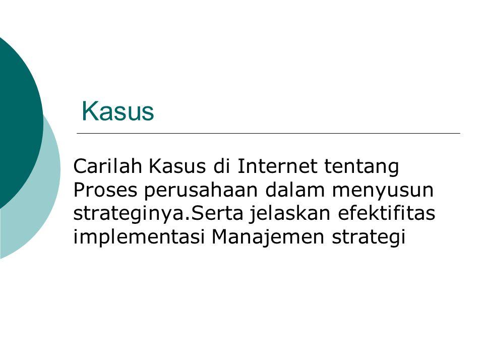 Kasus Carilah Kasus di Internet tentang Proses perusahaan dalam menyusun strateginya.Serta jelaskan efektifitas implementasi Manajemen strategi.