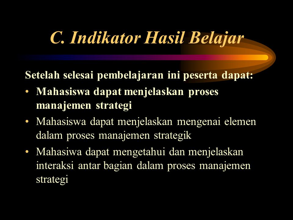 C. Indikator Hasil Belajar