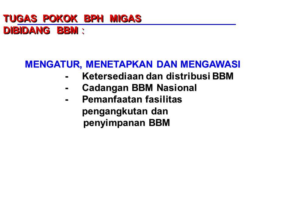 TUGAS POKOK BPH MIGAS DIBIDANG BBM : MENGATUR, MENETAPKAN DAN MENGAWASI. - Ketersediaan dan distribusi BBM.