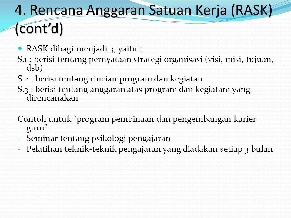 4. Rencana Anggaran Satuan Kerja (RASK) (cont'd)