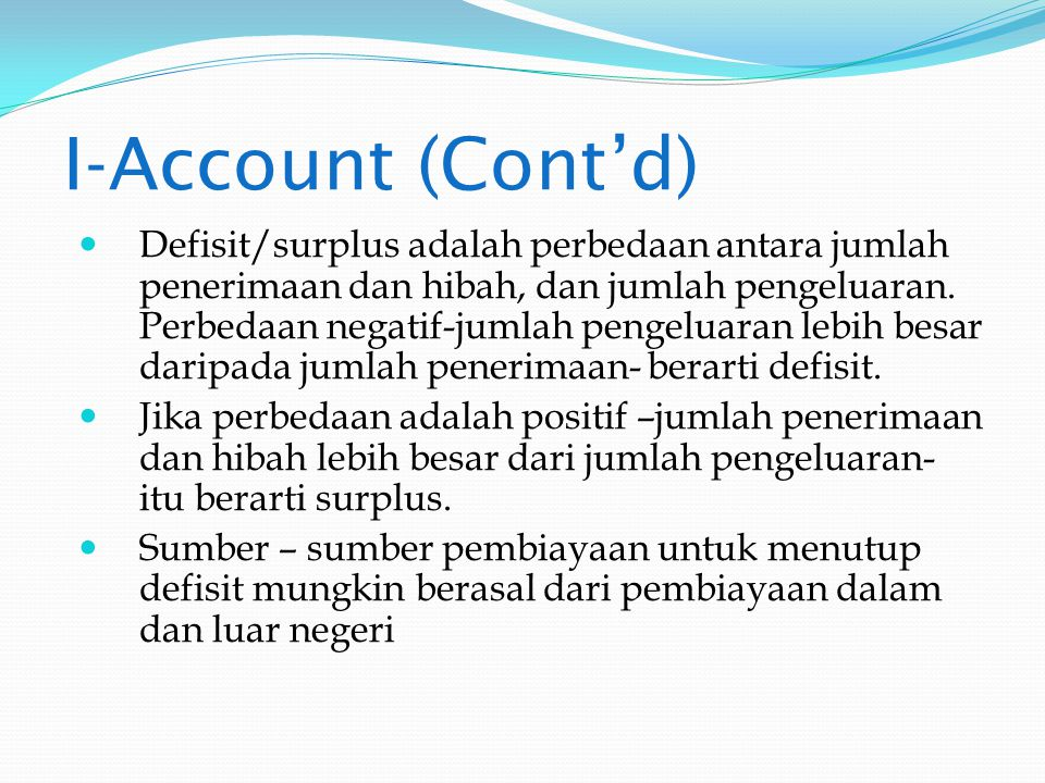 I-Account (Cont'd)
