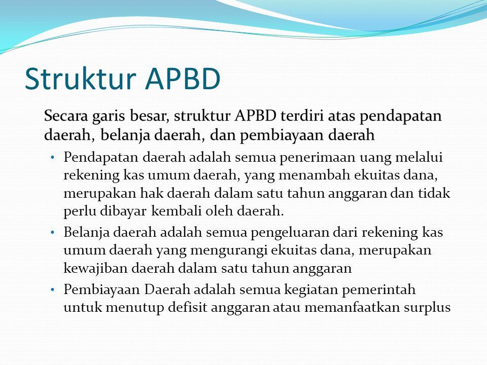 Struktur APBD Secara garis besar, struktur APBD terdiri atas pendapatan daerah, belanja daerah, dan pembiayaan daerah.