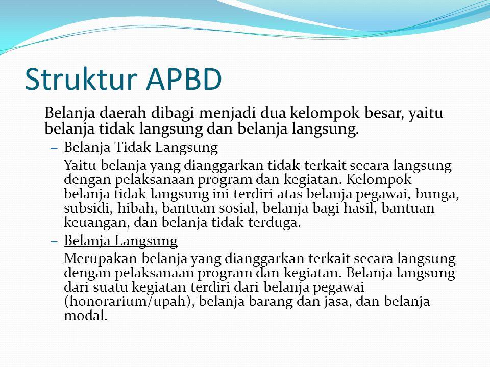 Struktur APBD Belanja daerah dibagi menjadi dua kelompok besar, yaitu belanja tidak langsung dan belanja langsung.