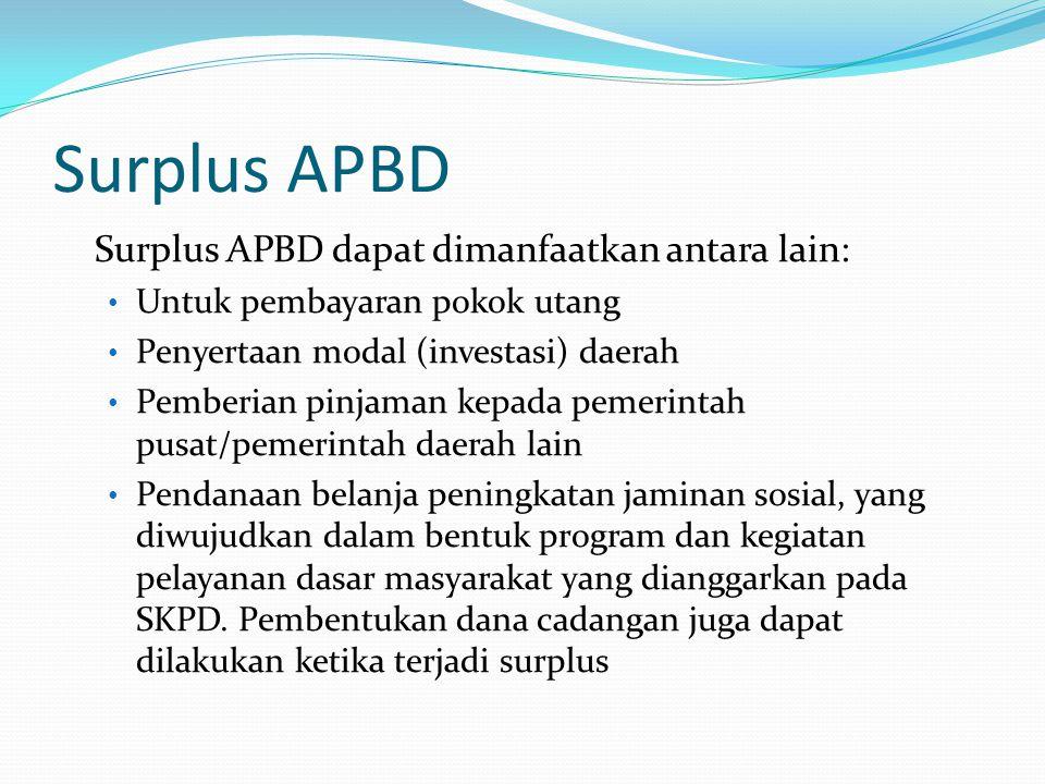 Surplus APBD Surplus APBD dapat dimanfaatkan antara lain: