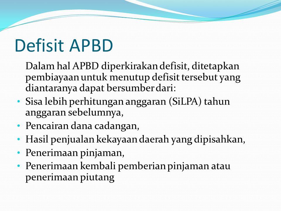 Defisit APBD Dalam hal APBD diperkirakan defisit, ditetapkan pembiayaan untuk menutup defisit tersebut yang diantaranya dapat bersumber dari: