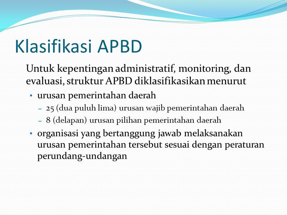 Klasifikasi APBD Untuk kepentingan administratif, monitoring, dan evaluasi, struktur APBD diklasifikasikan menurut.