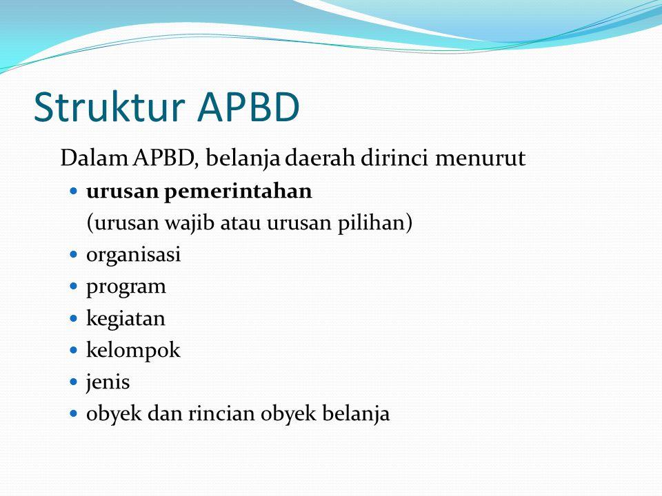Struktur APBD Dalam APBD, belanja daerah dirinci menurut