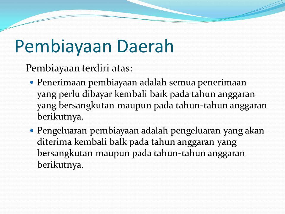 Pembiayaan Daerah Pembiayaan terdiri atas: