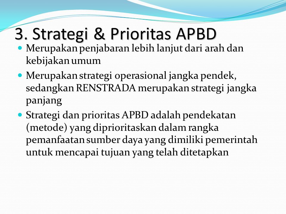 3. Strategi & Prioritas APBD