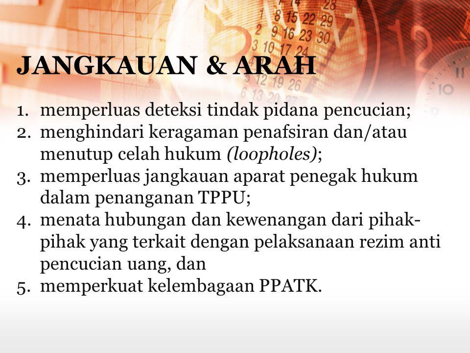 JANGKAUAN & ARAH memperluas deteksi tindak pidana pencucian;