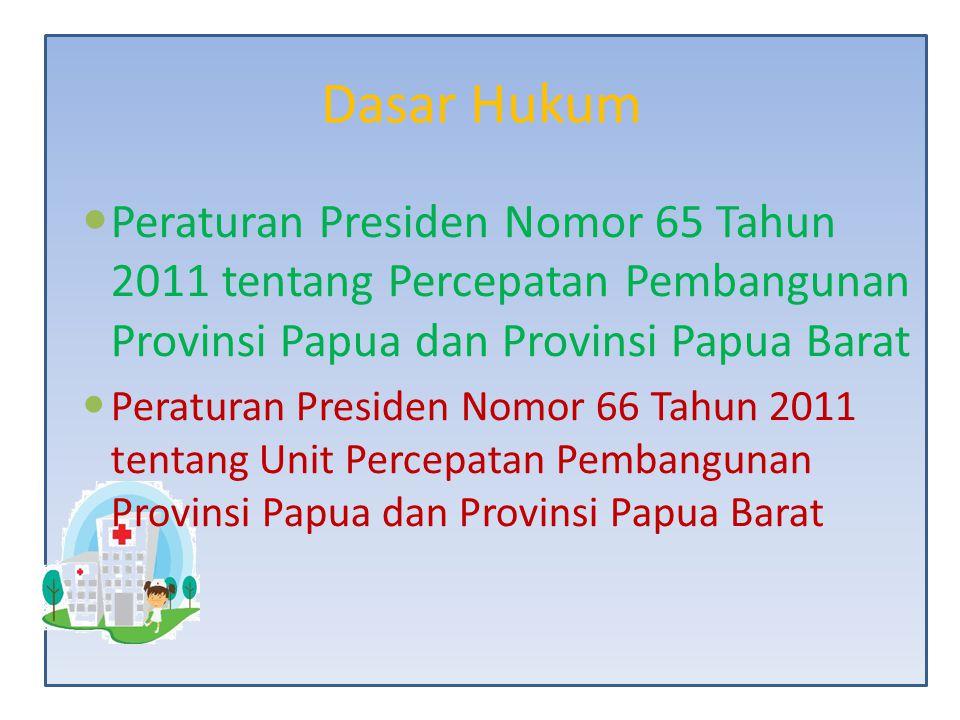Dasar Hukum Peraturan Presiden Nomor 65 Tahun 2011 tentang Percepatan Pembangunan Provinsi Papua dan Provinsi Papua Barat.