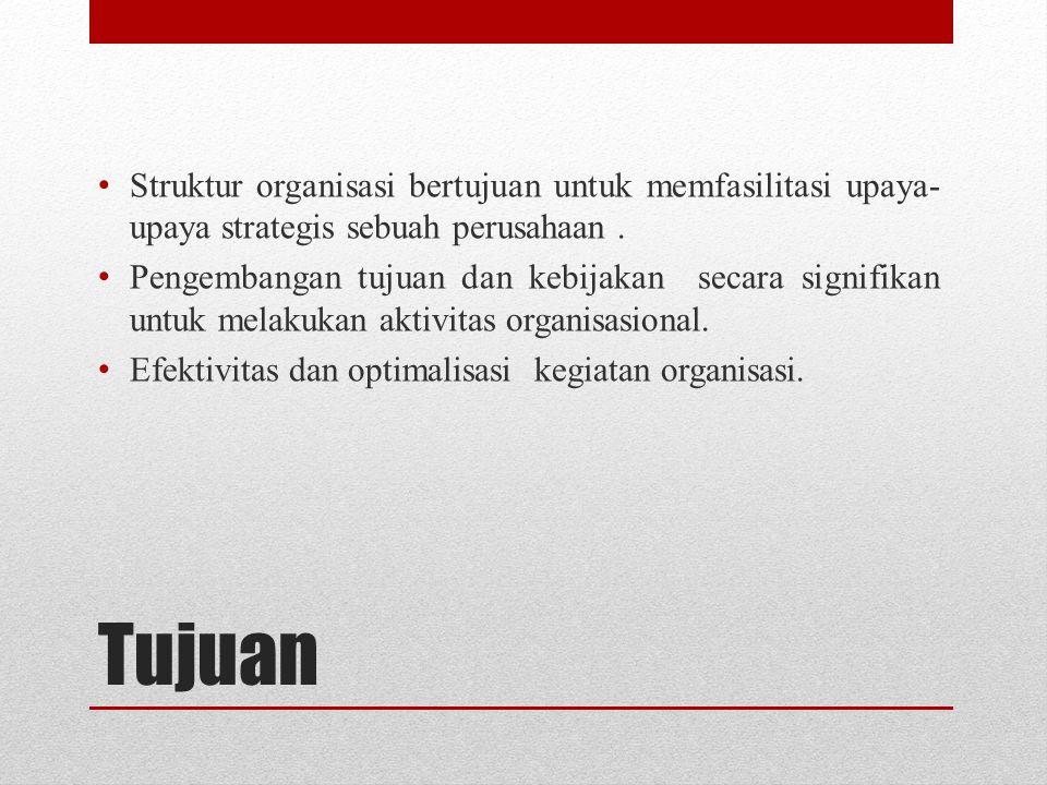Struktur organisasi bertujuan untuk memfasilitasi upaya-upaya strategis sebuah perusahaan .