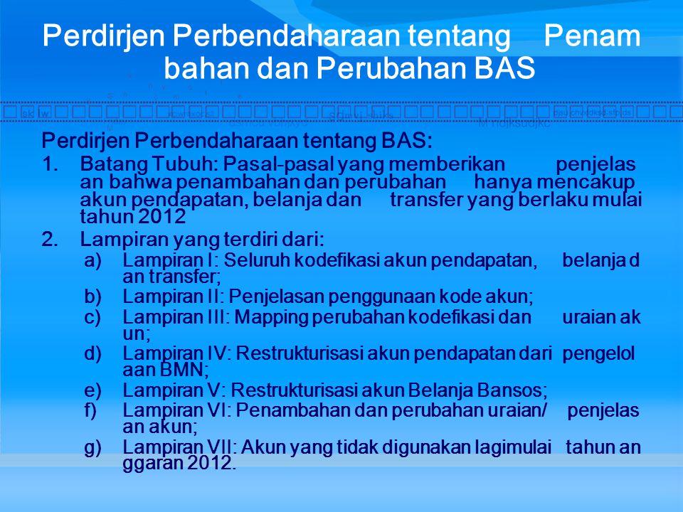 Perdirjen Perbendaharaan tentang Penambahan dan Perubahan BAS