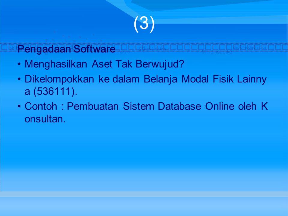 (3) Pengadaan Software Menghasilkan Aset Tak Berwujud