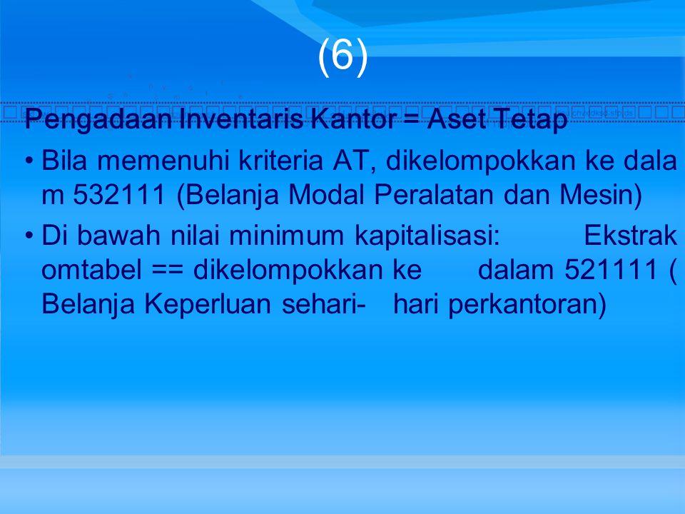 (6) Pengadaan Inventaris Kantor = Aset Tetap