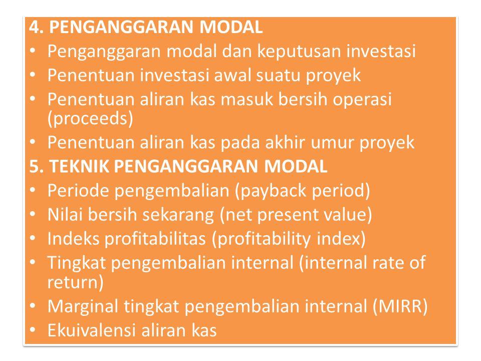 4. PENGANGGARAN MODAL Penganggaran modal dan keputusan investasi. Penentuan investasi awal suatu proyek.